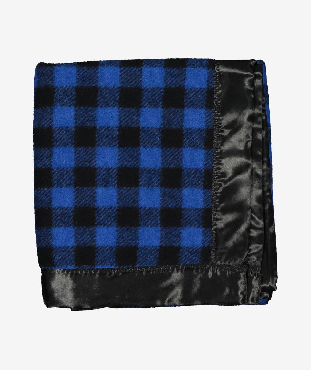 Swanndri Baby Buggy Wool Blanket in Black/Blue Check