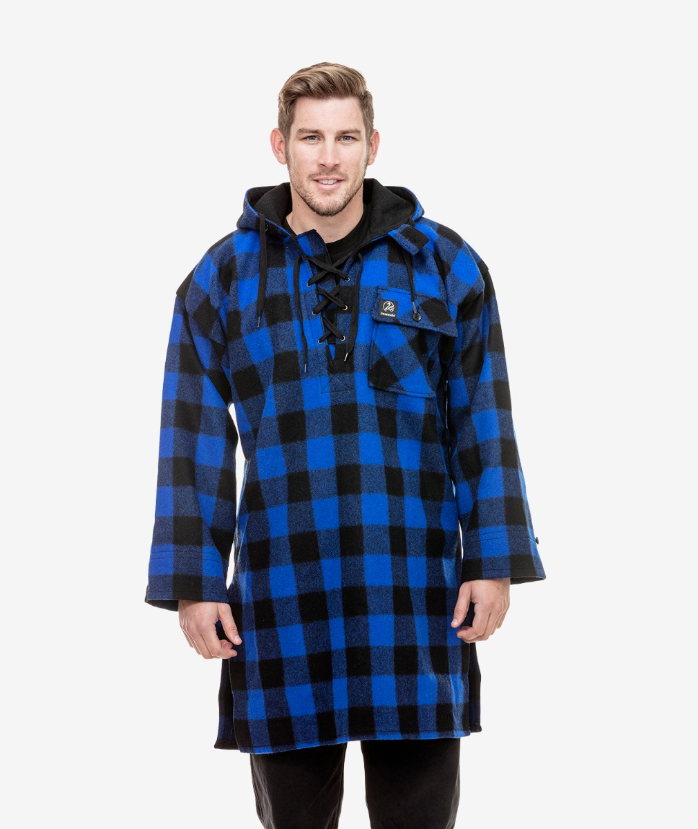 Men's Original Wool Bushshirt in Blue/Black Check