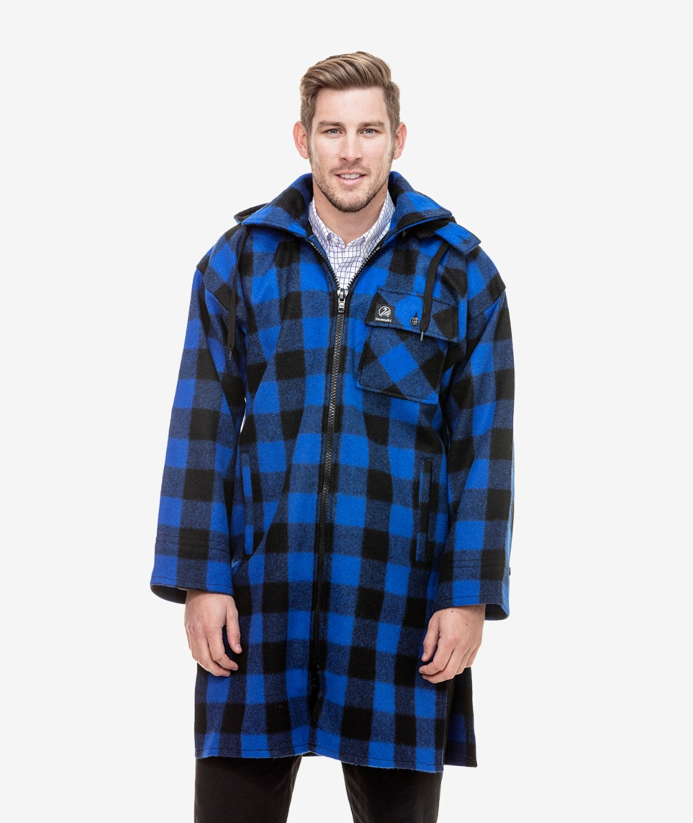 Swanndri Men's Mosgiel Wool Bushshirt with Zip-up in Blue/Black Check