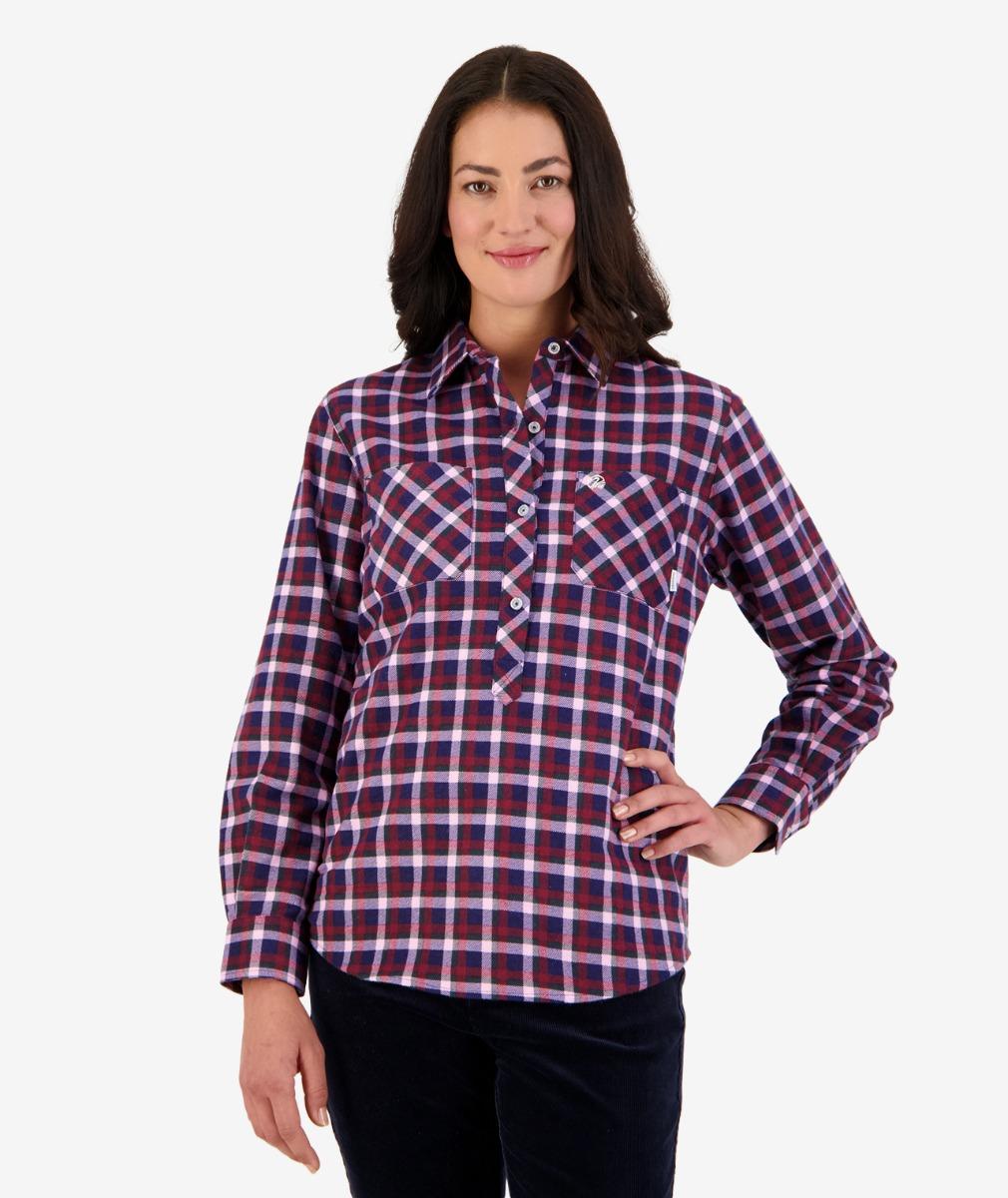 Swanndri Women's Egmont Long Sleeve Cotton Shirt Twin Pack in Pink/Navy