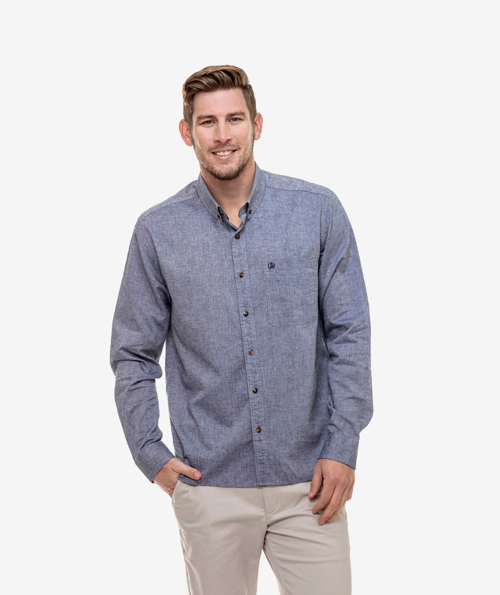 Swanndri Men's Mason Cotton Linen Blend Long Sleeve Shirt
