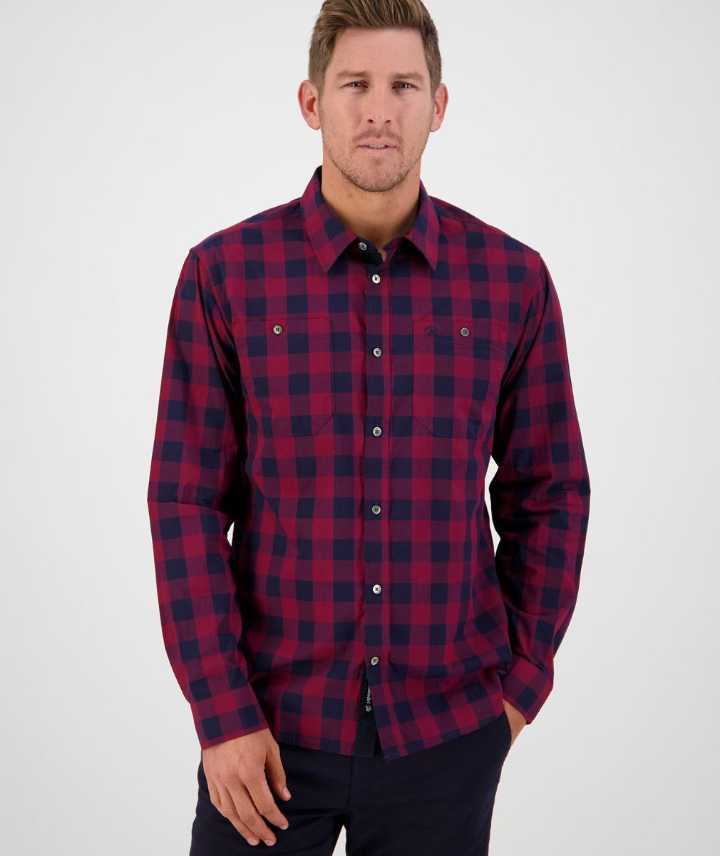 Swanndri Men's Matarangi Shirt in Oxblood/Navy Check