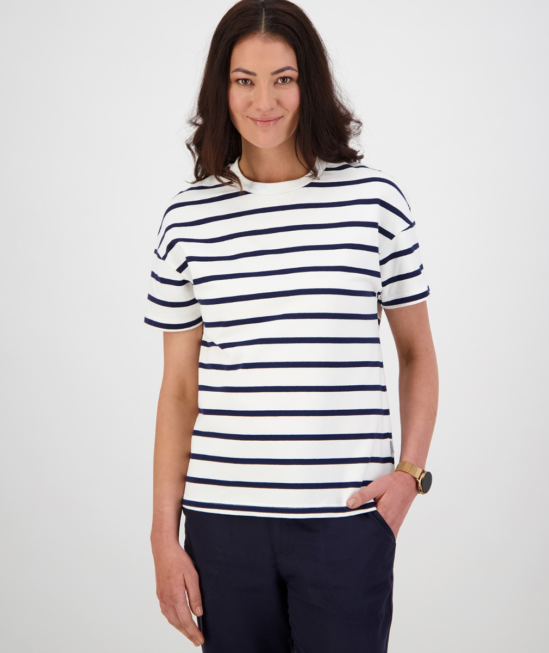 Swanndri Women's Oakville Stripe Tee in White/Navy
