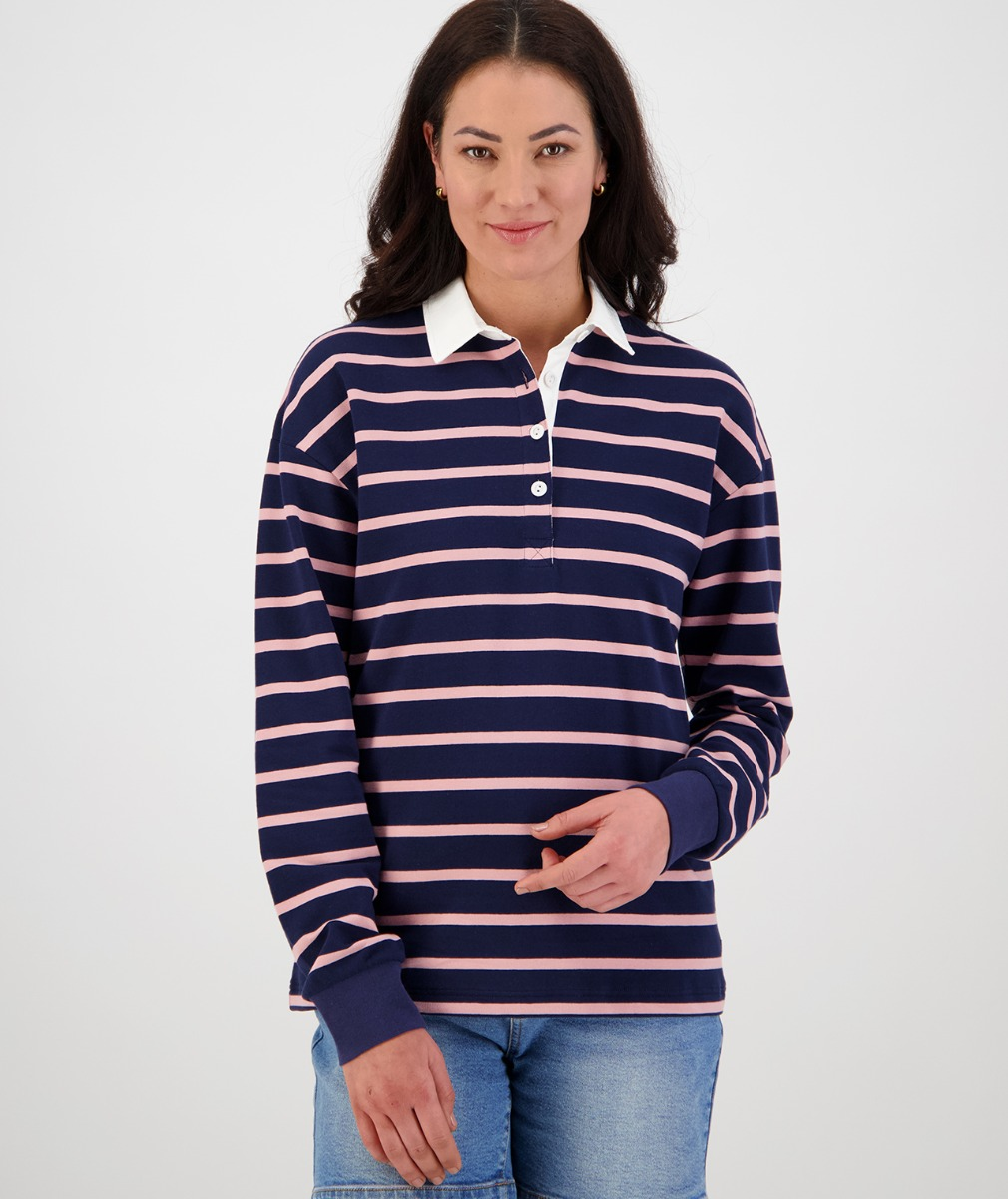 Swanndri Women's Tribeca Long Sleeve Rugby Shirt in Navy/Pink