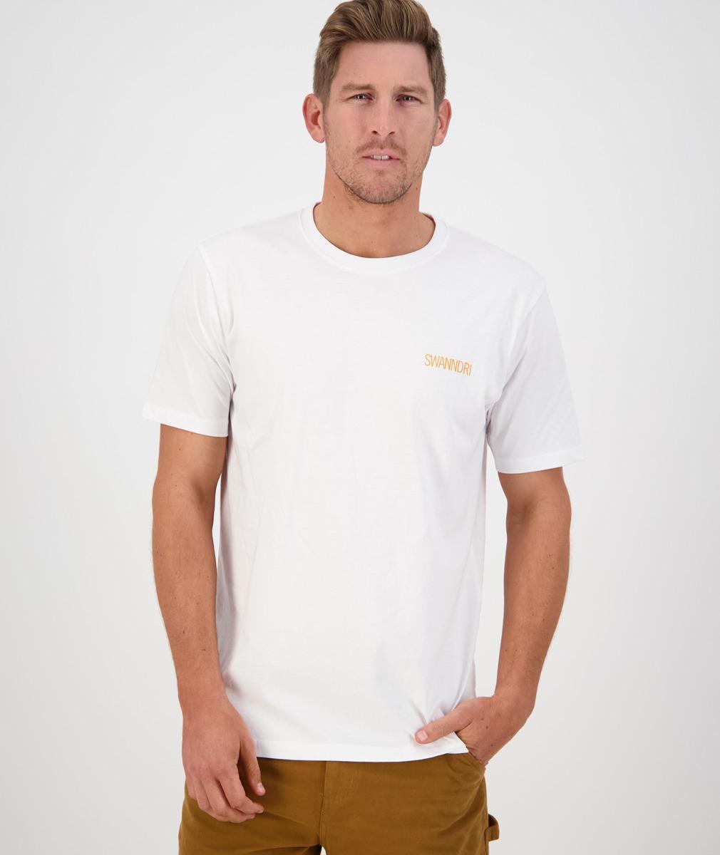 Swanndri Men's The Alps Print Tee in Off White/Navy