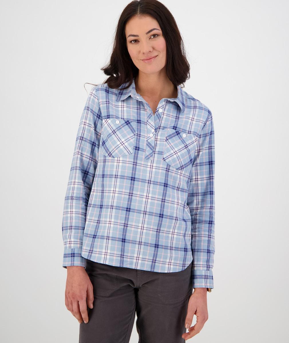 Swanndri Women's Flora Long Sleeve Shirt in Blue/Navy