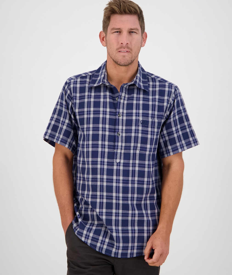 Swanndri Men's Paihia Cotton Short Sleeve Shirt in Blue/Grey Grid