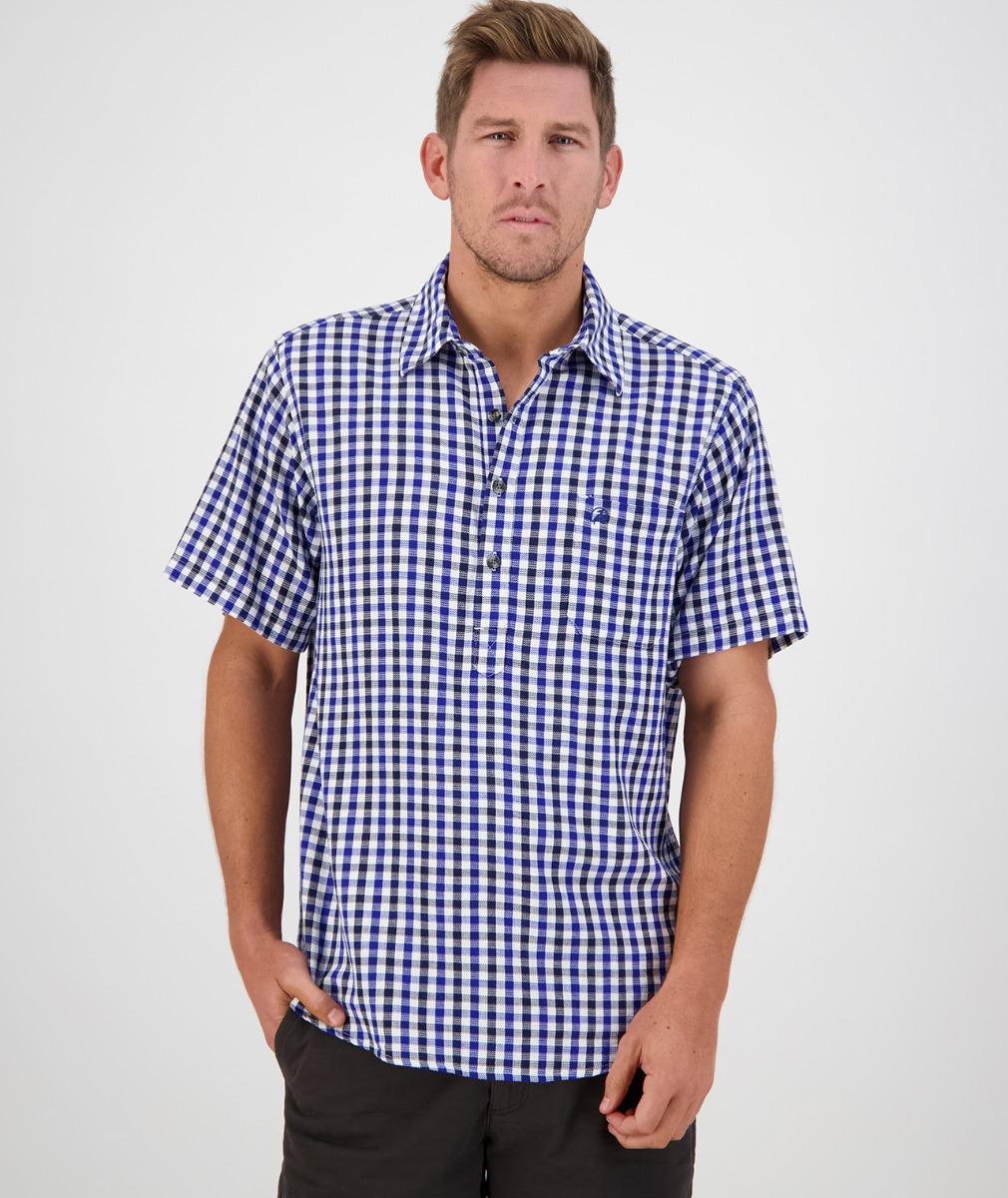 Swanndri Men's Paihia Short Sleeve Shirt in Blue/Navy Check