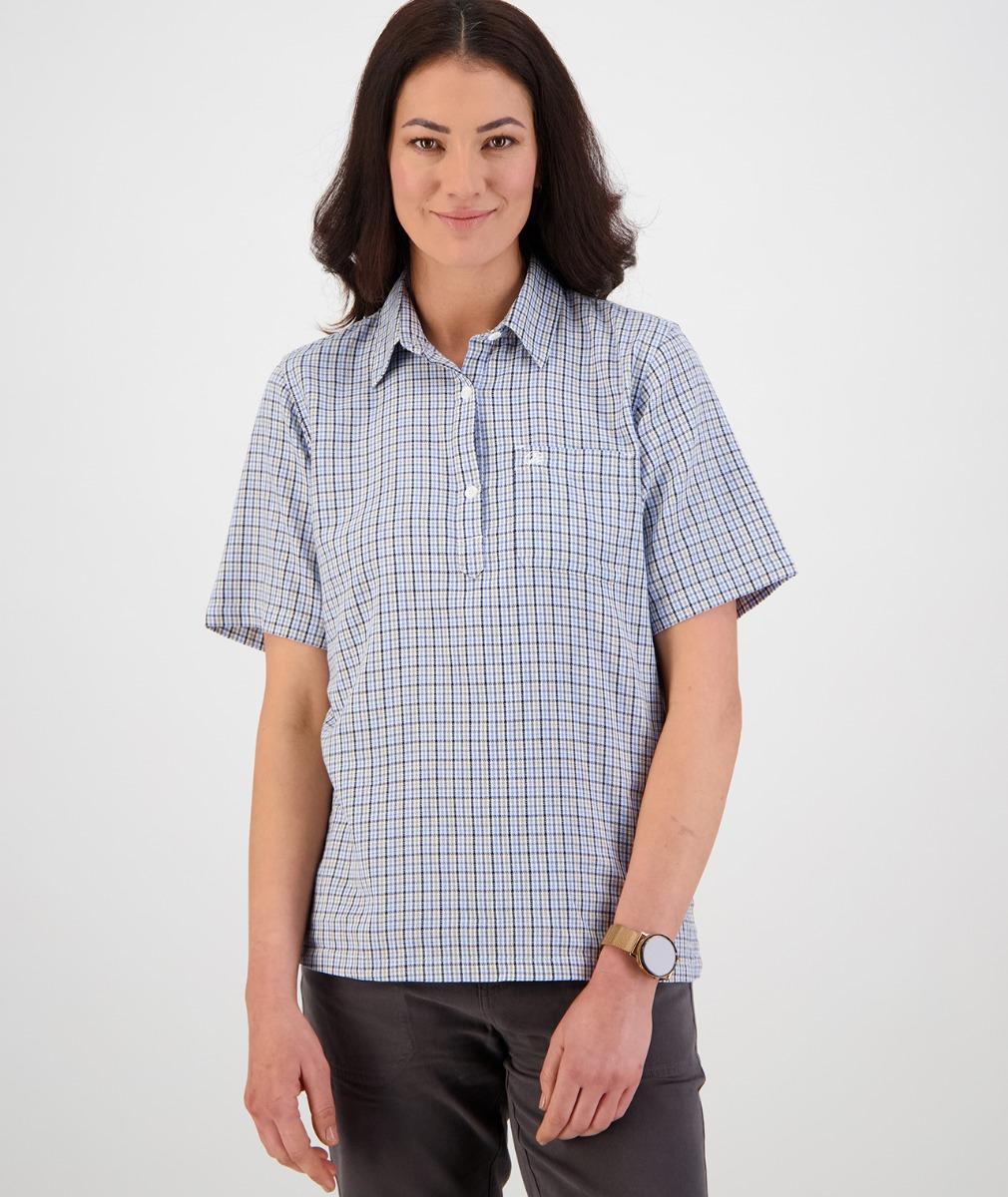 Swanndri Women's Tasman 100% Cotton Short Sleeve Shirt in Light Blue/Sage/Navy