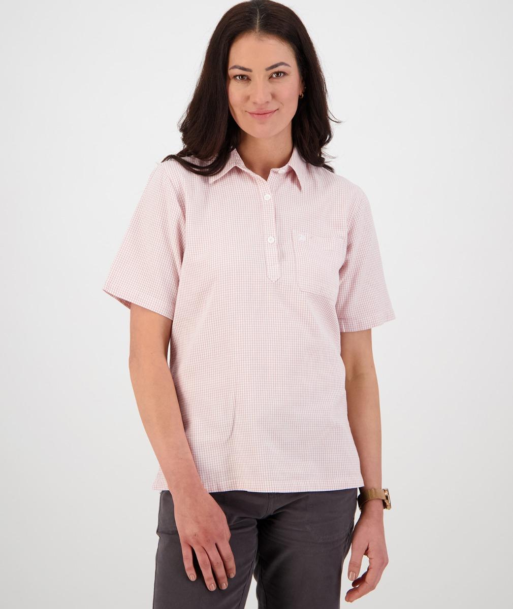 Swanndri Women's Tasman 100% Cotton Short Sleeve Shirt in Pink/White Gingham