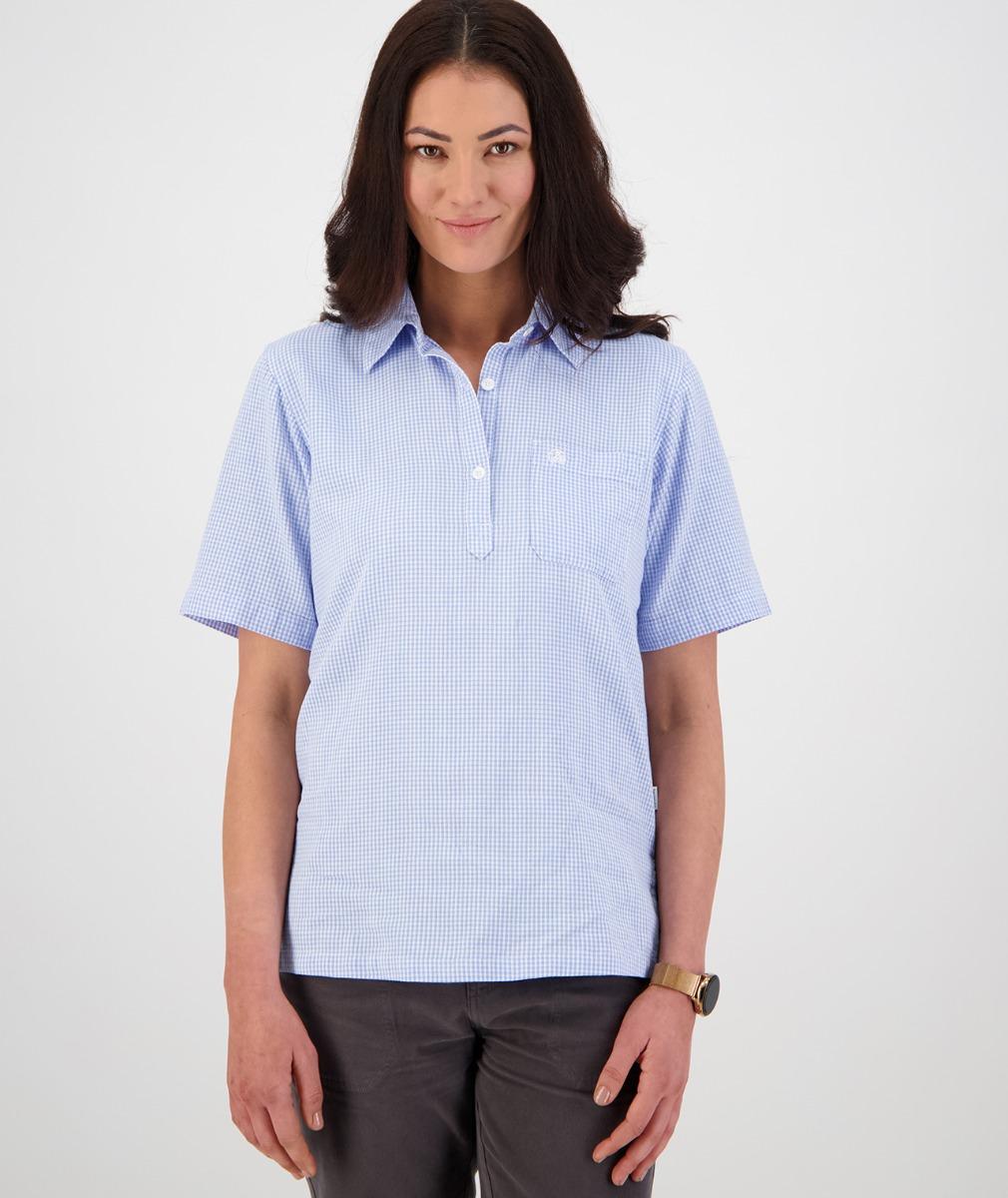 Swanndri Women's Tasman 100% Cotton Short Sleeve Shirt in White/Blue Gingham