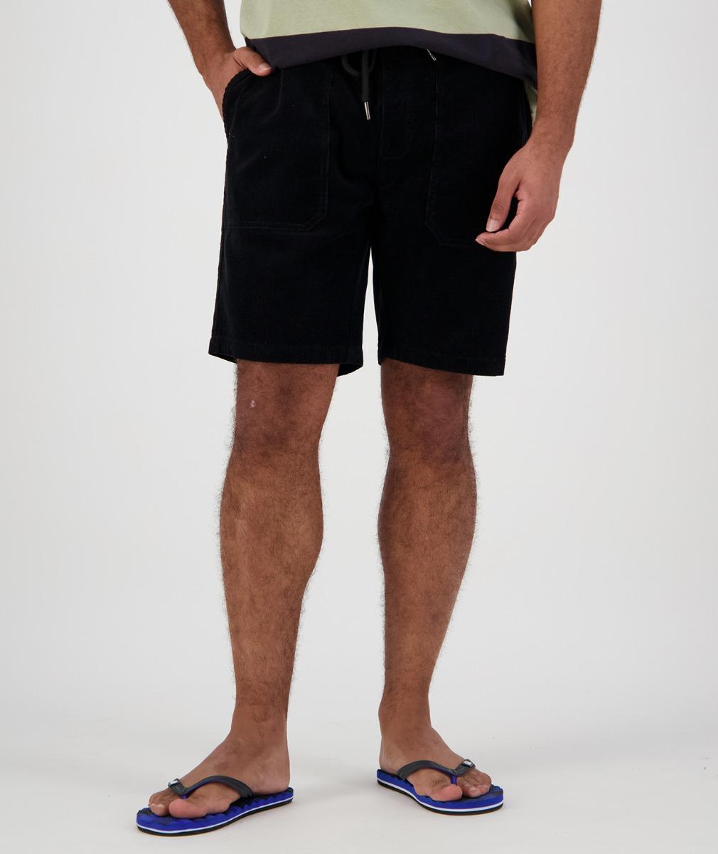 Swanndri Men's Long Bay V2 Cord Shorts in Black