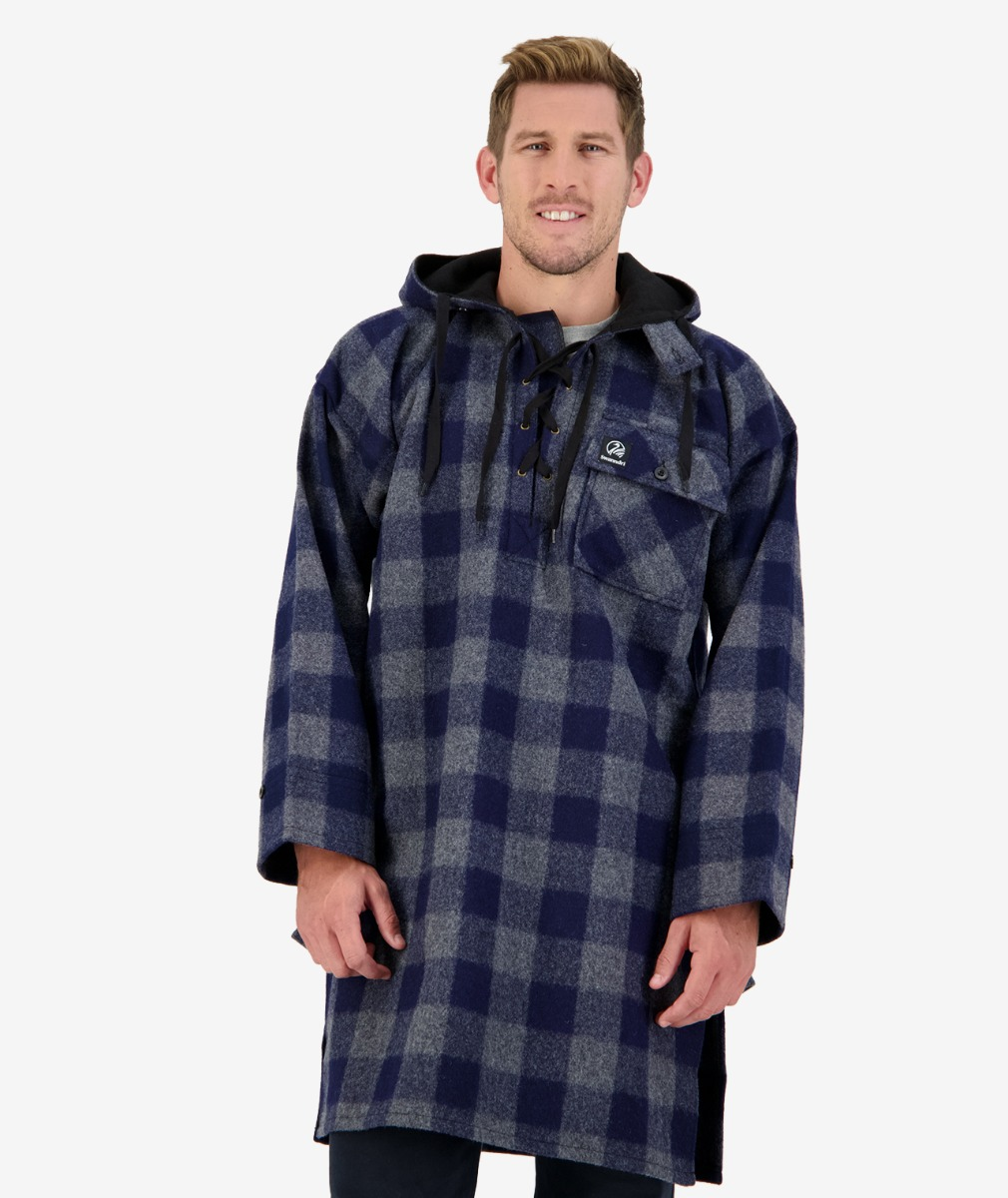 Swanndri Men's Original Wool Bushshirt in Blue/Grey Check