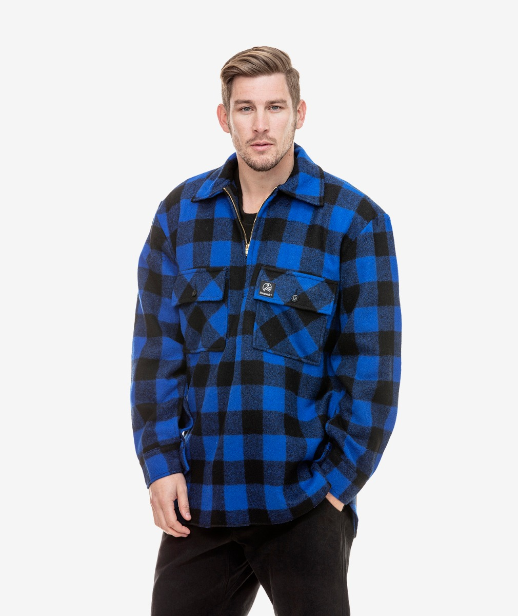 Men's Ranger Wool Zip Front Bush Shirt in Blue/Black Check