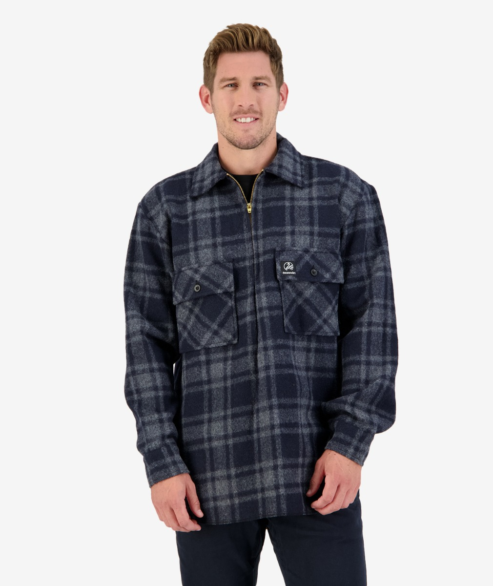 Men's Ranger Wool Zip Front Bush Shirt in Charcoal Grid