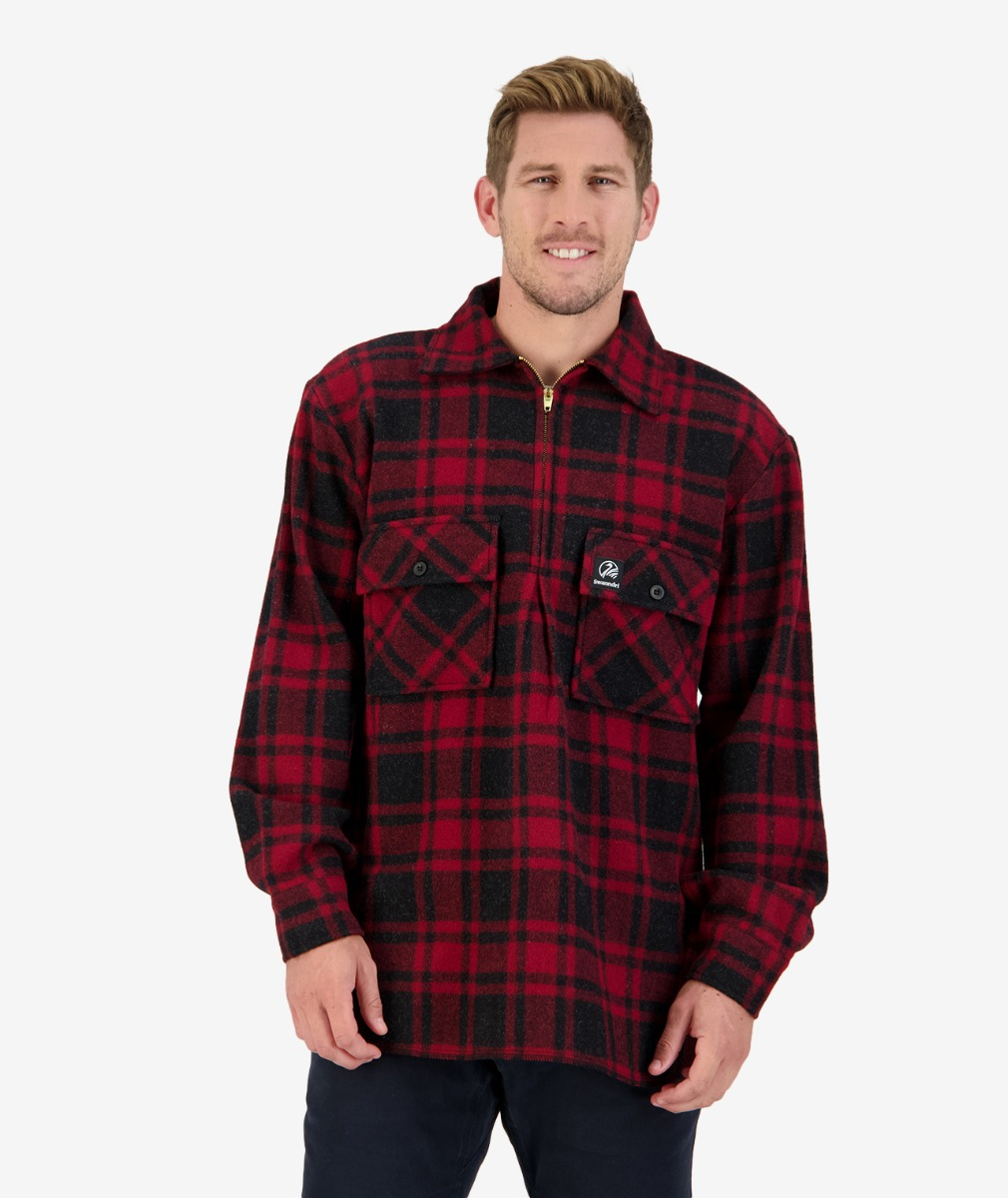 Men's Ranger Wool Zip Front Bush Shirt in Oxblood Grid