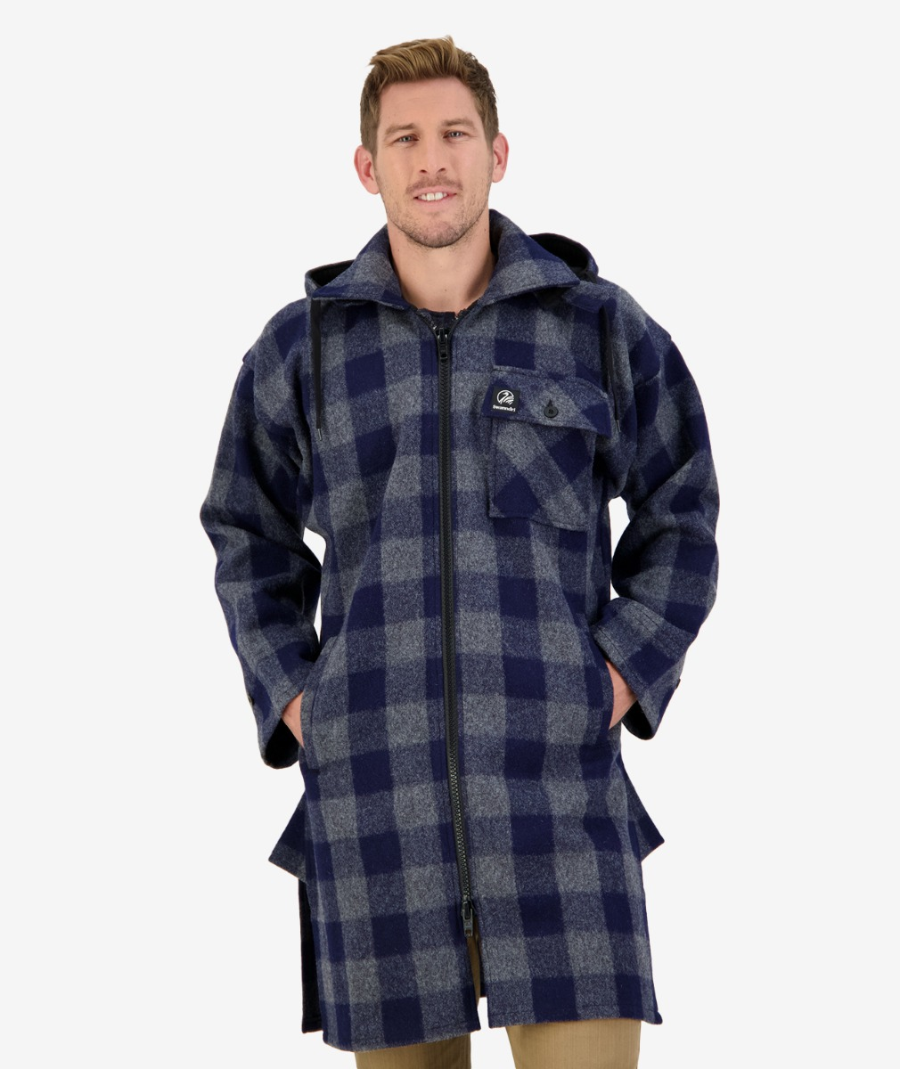 Mosgiel Full Zip Bush Shirt in Blue/Grey Check