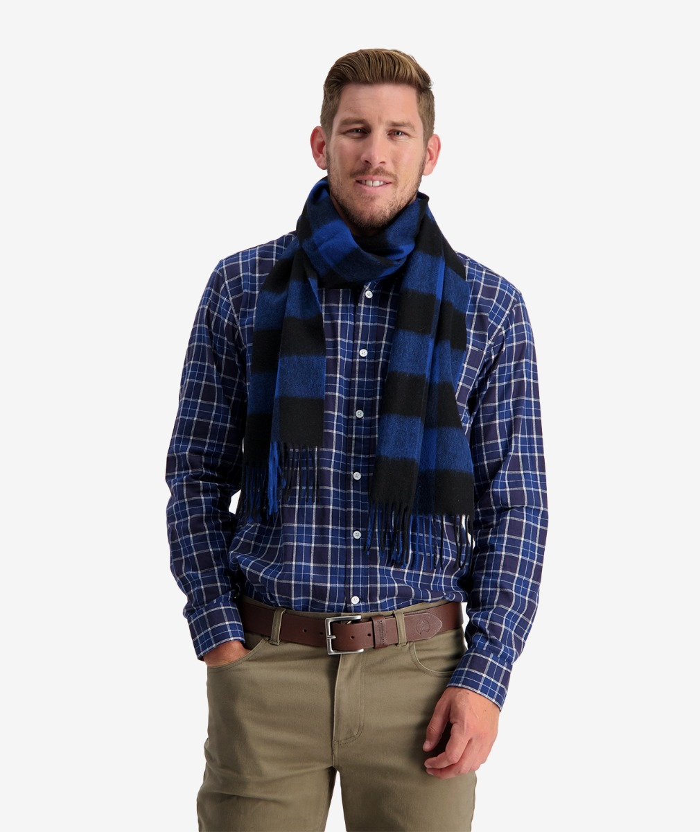 Swanndri Unisex 100% Wool Scarfie in Blue/Black Check