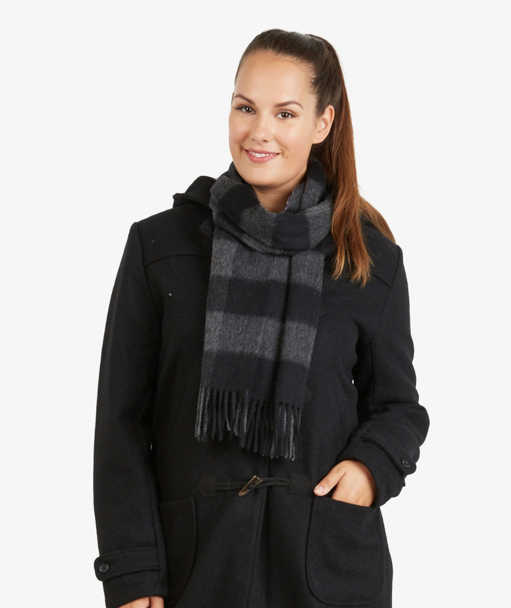 Swanndri Unisex 100% Wool Scarfie in Charcoal/Black Check