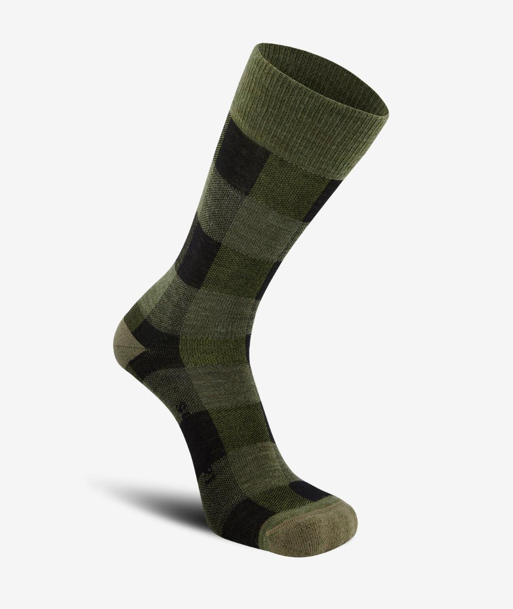 Swanndri Colombo Check Merino Sock in Olive Check