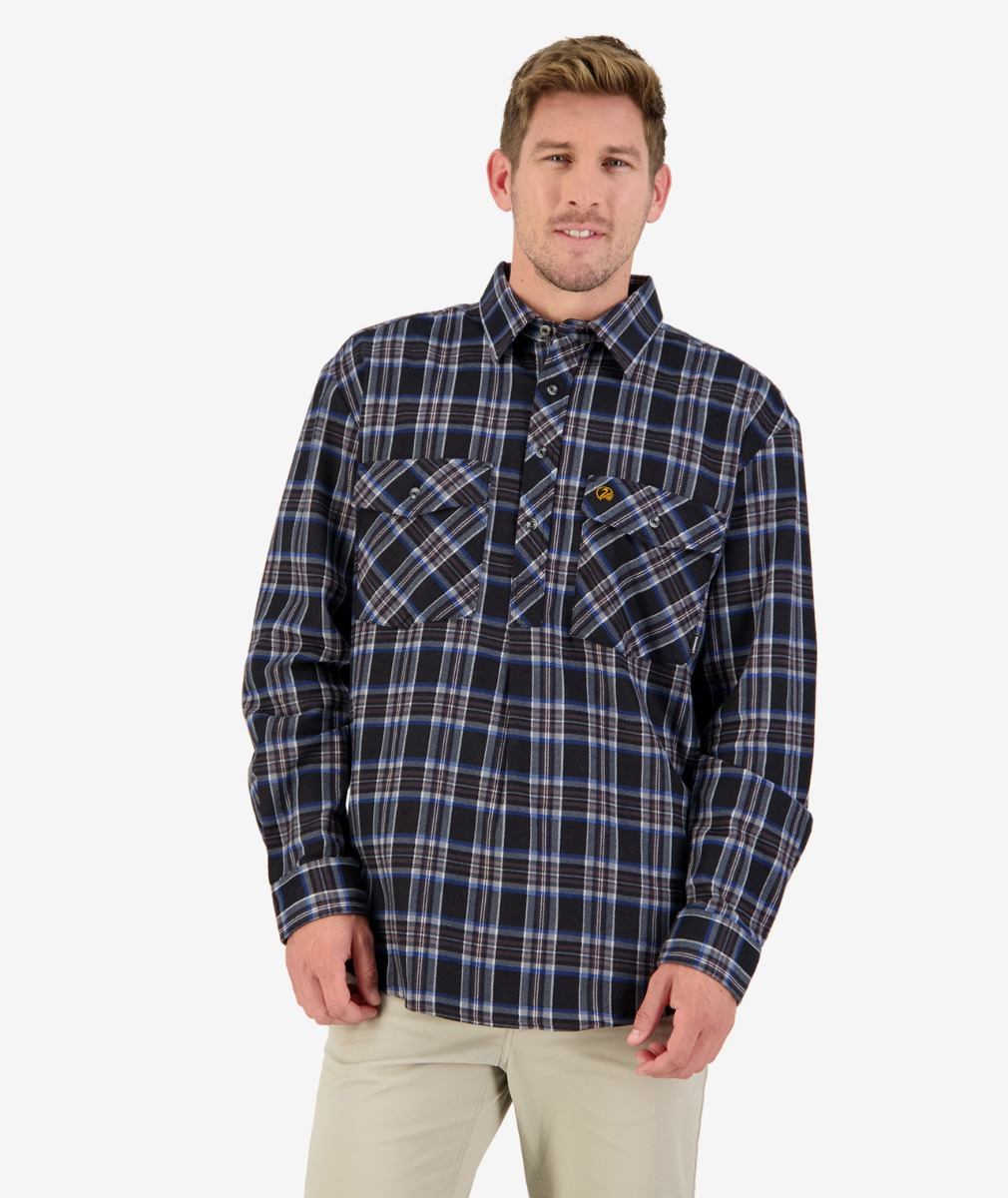 Egmont 1/2 Placket Shirt in Grey/Red