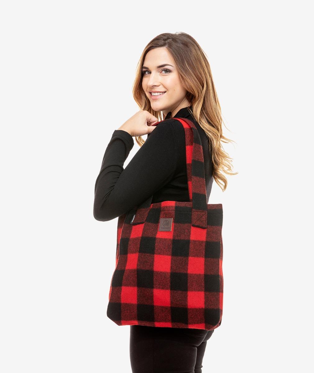 Swanndri Wool Tote Bag in Red Black Check