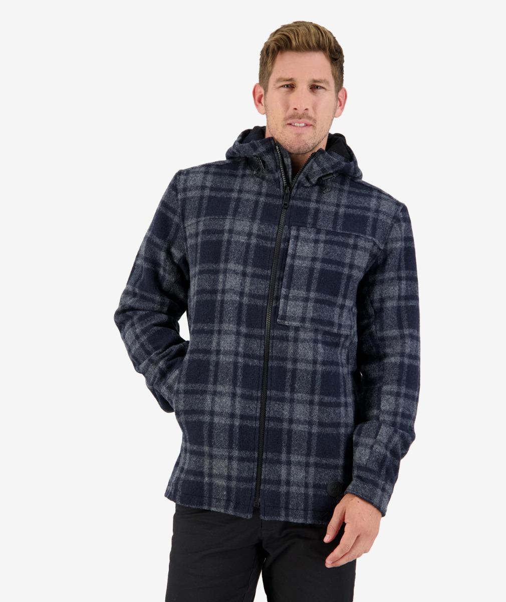 Hudson wool Hoody in Charcoal Grid Check