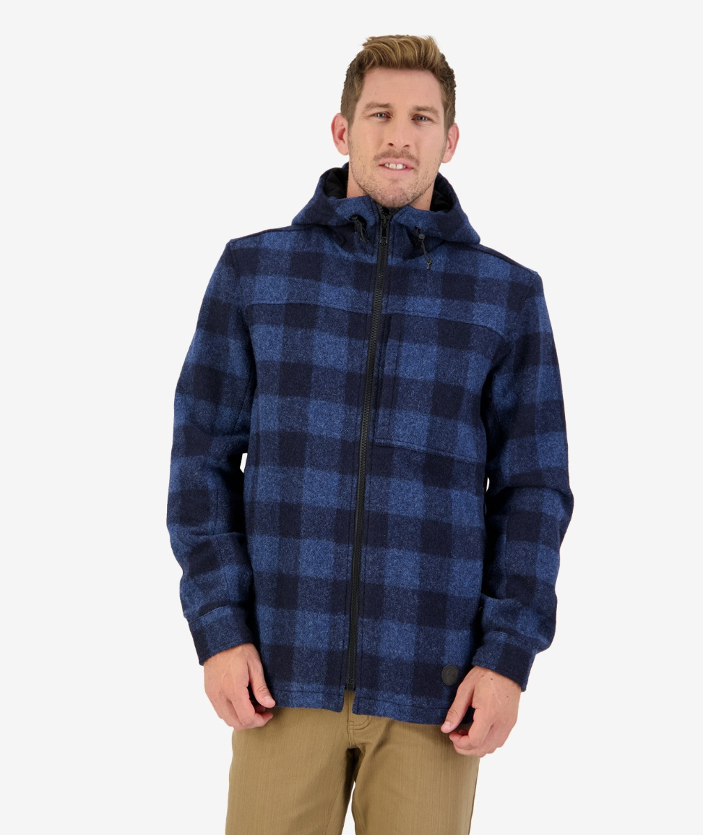 Swanndri Men's Hudson Wool Hoody in Ink Check