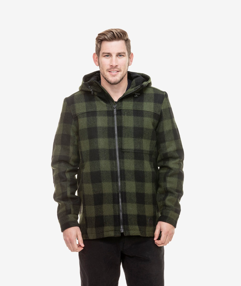 Swanndri Men's Hudson Wool Hoody in Olive/Black Check