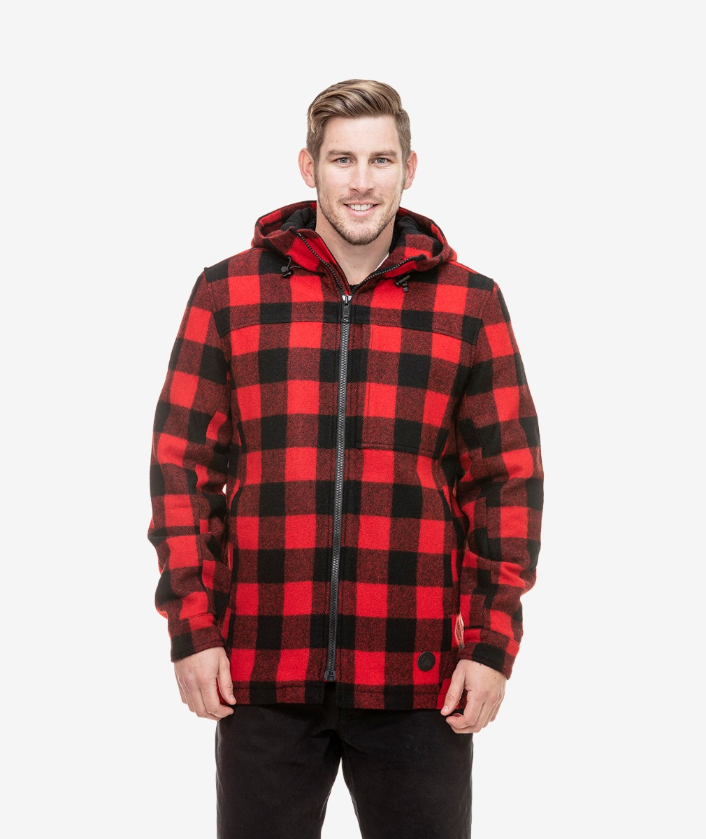 Swanndri Men's Hudson Wool Hoody in Red/Black Check