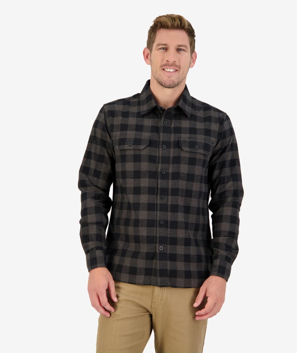 Taranaki Tailor L/S Work Shirt in Charcoal/Black
