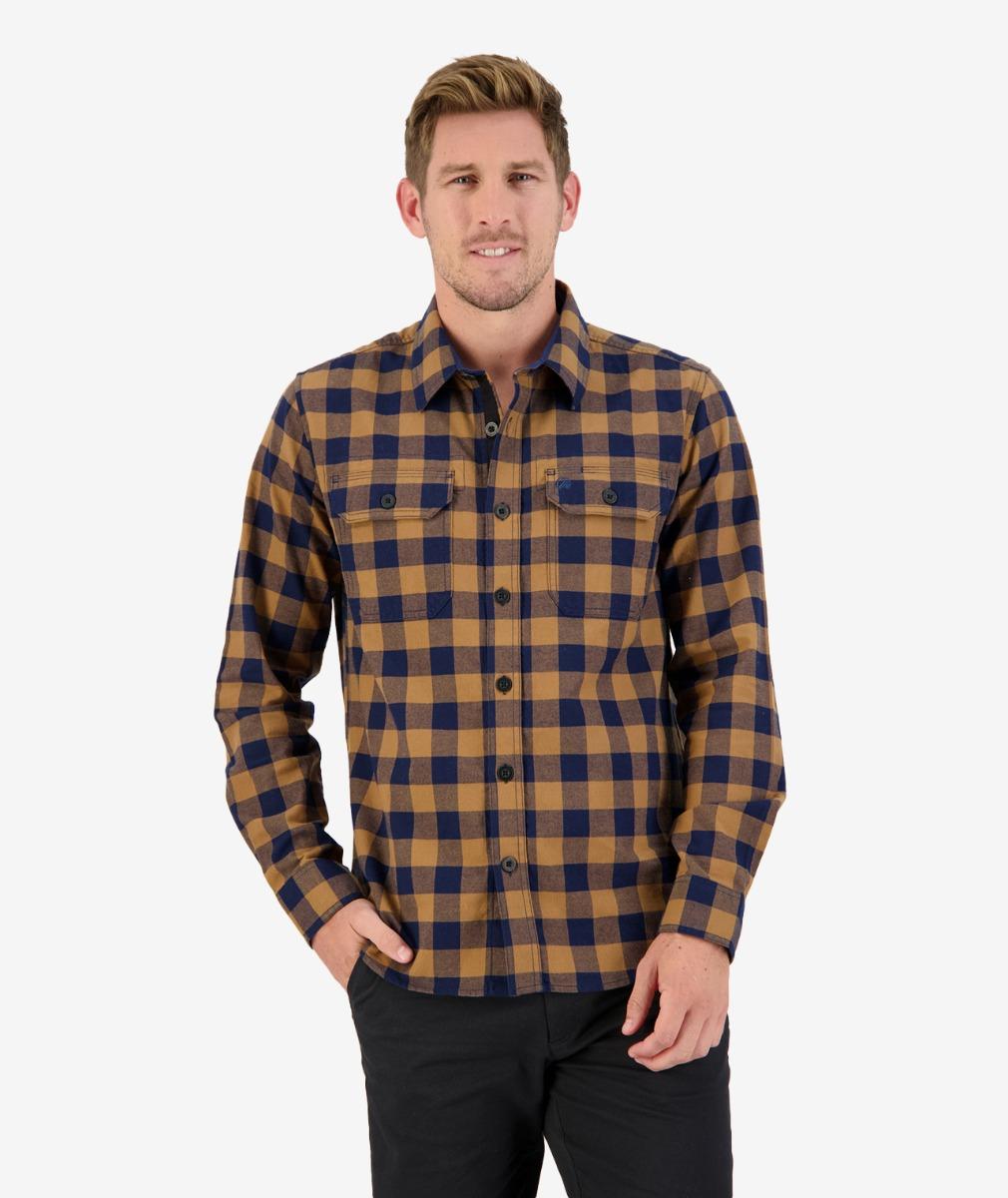 Taranaki Tailor L/S Work Shirt in Gold Navy