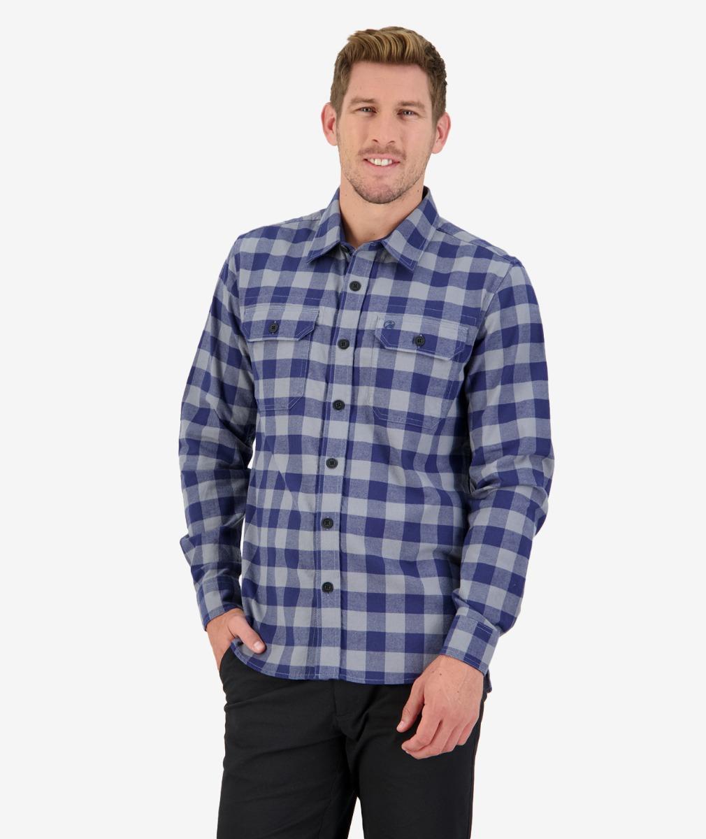 Taranaki Tailor L/S Work Shirt in Grey/Navy