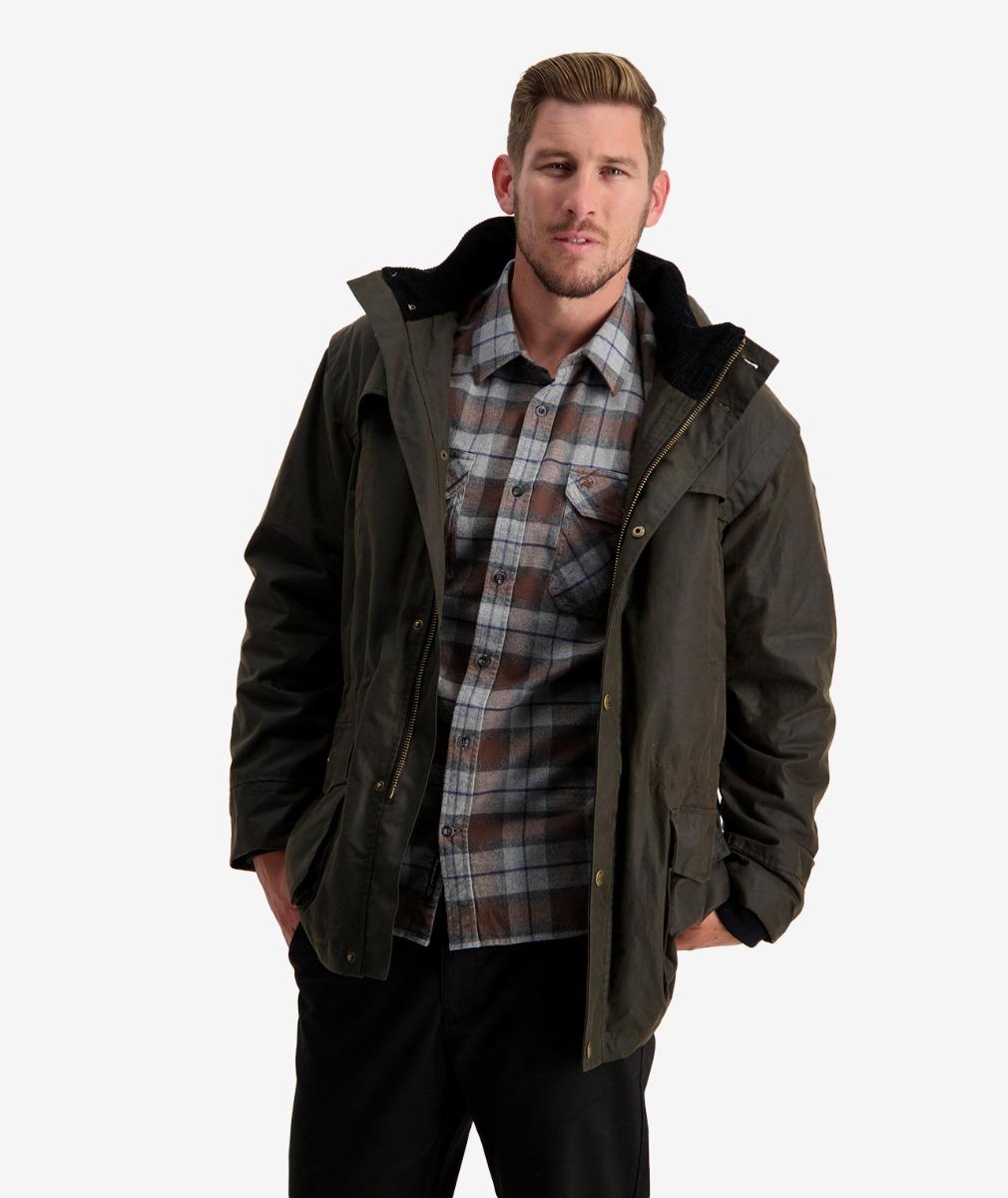 Evans Flat Oilskin Jacket in Dark Olive