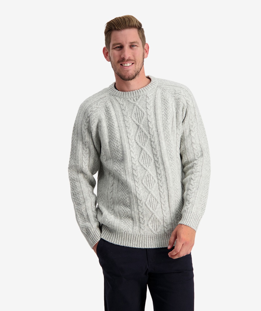 Swanndri Men's Back Beach Cable Crew Jumper in New Silver