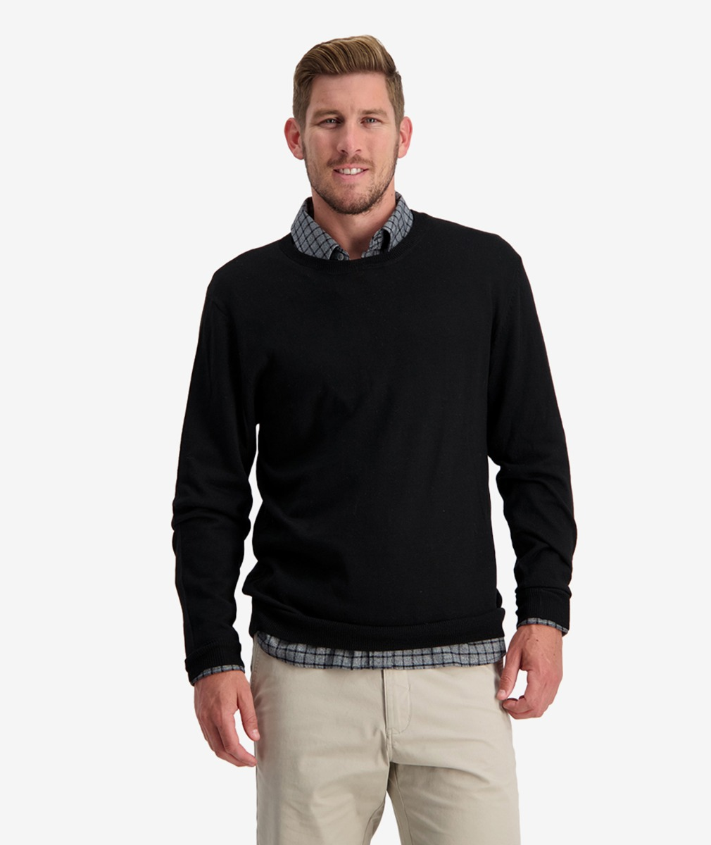 Swanndri Men's Belt Road Merino Crew Neck Jumper in Black