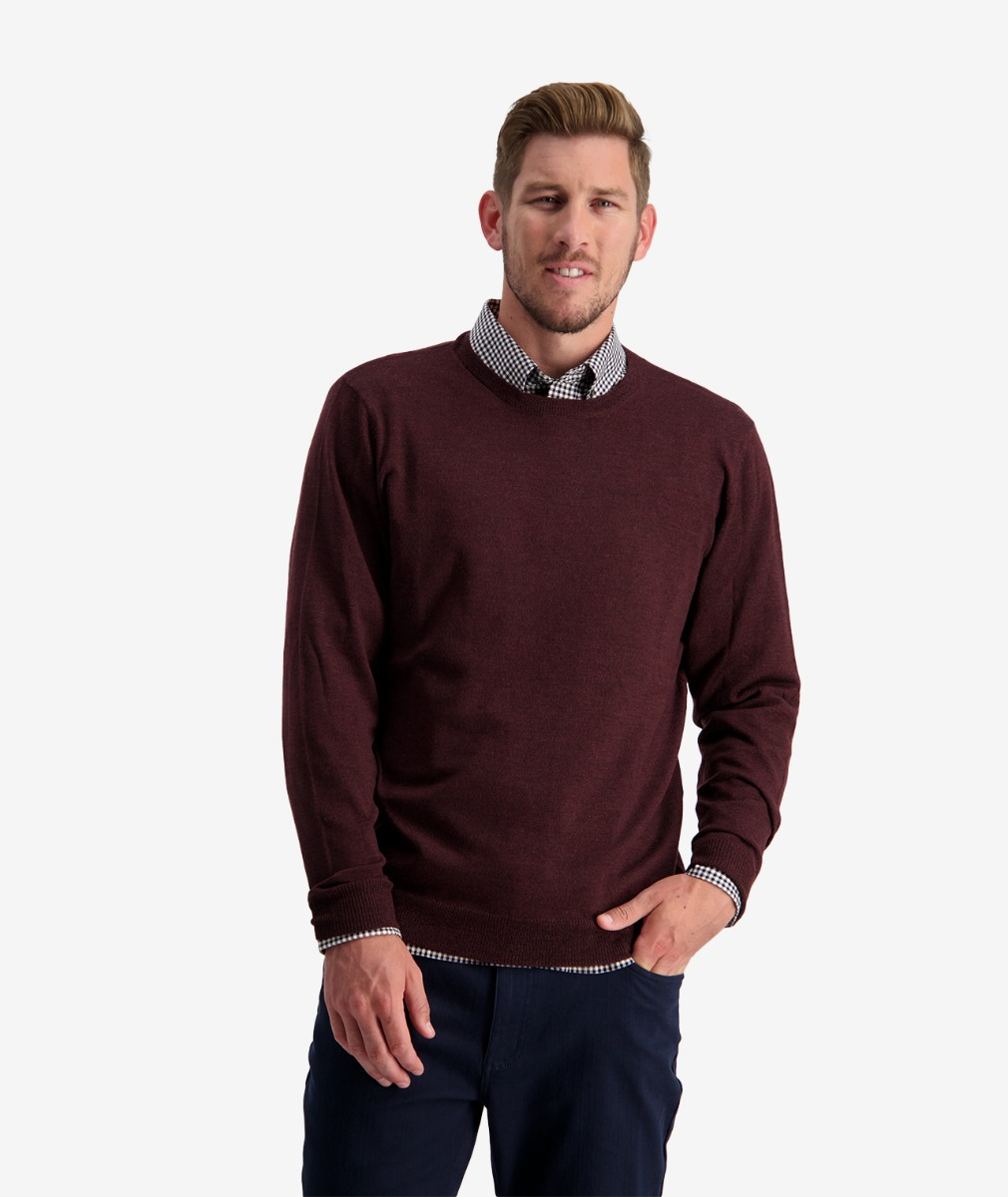 Swanndri Men's Belt Road Merino Crew Neck Jumper in Oxblood