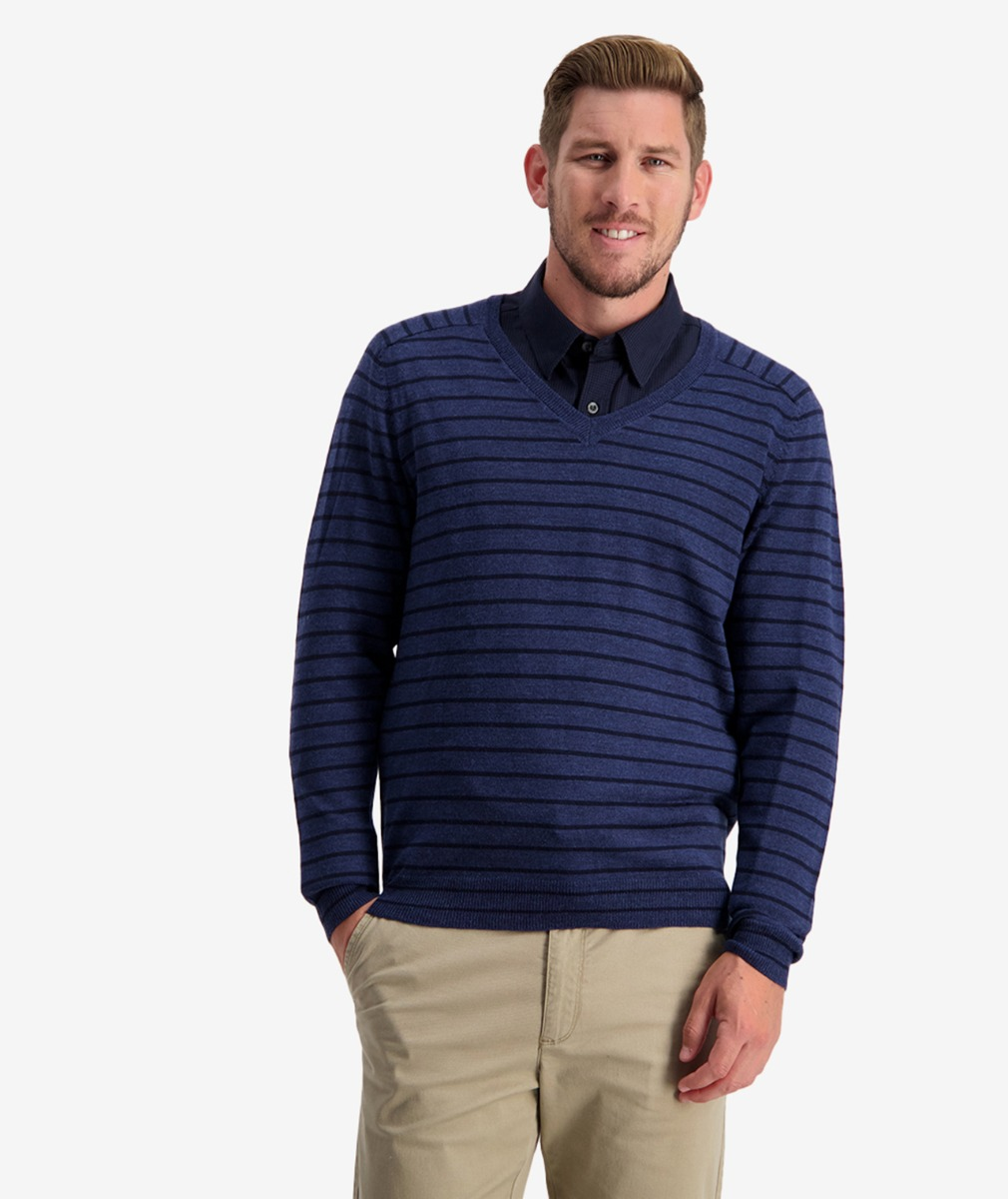 Swanndri Men's Fulford Stripe Vee Neck Jumper