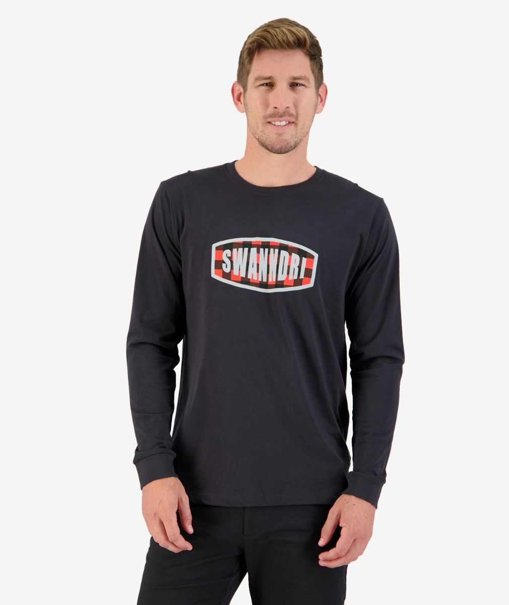 Checkbox L/S Printed Tee in Washed Black
