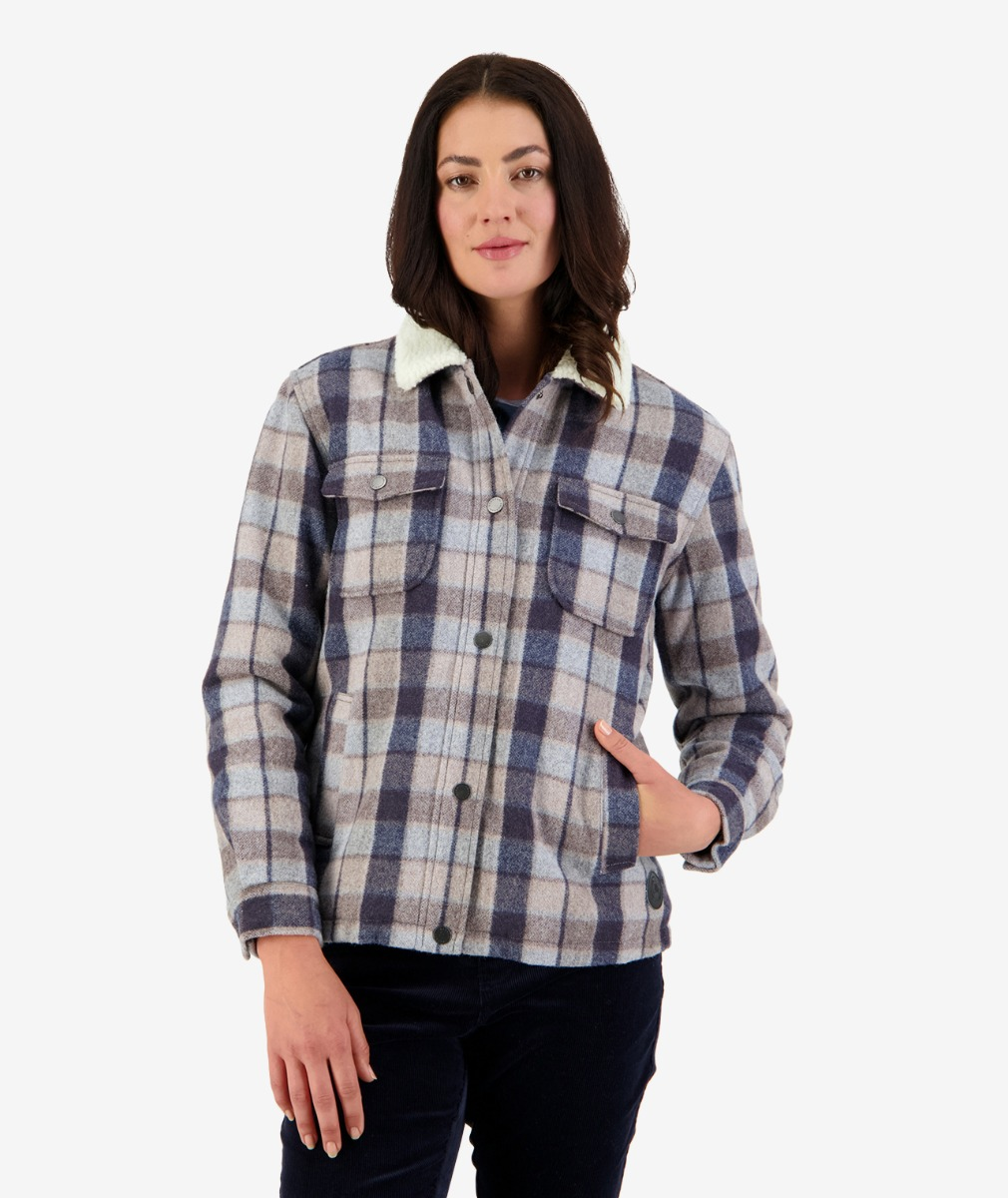 Kaituna Women's Sherpa Lined Jacket in Country Check