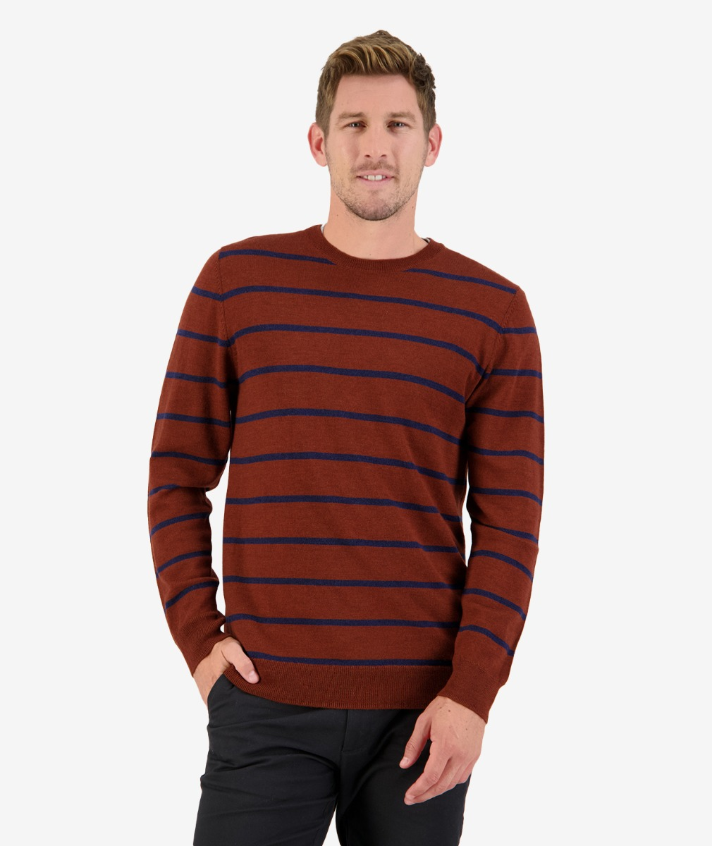 Little River Merino Stripe Crew in Rust/Ink