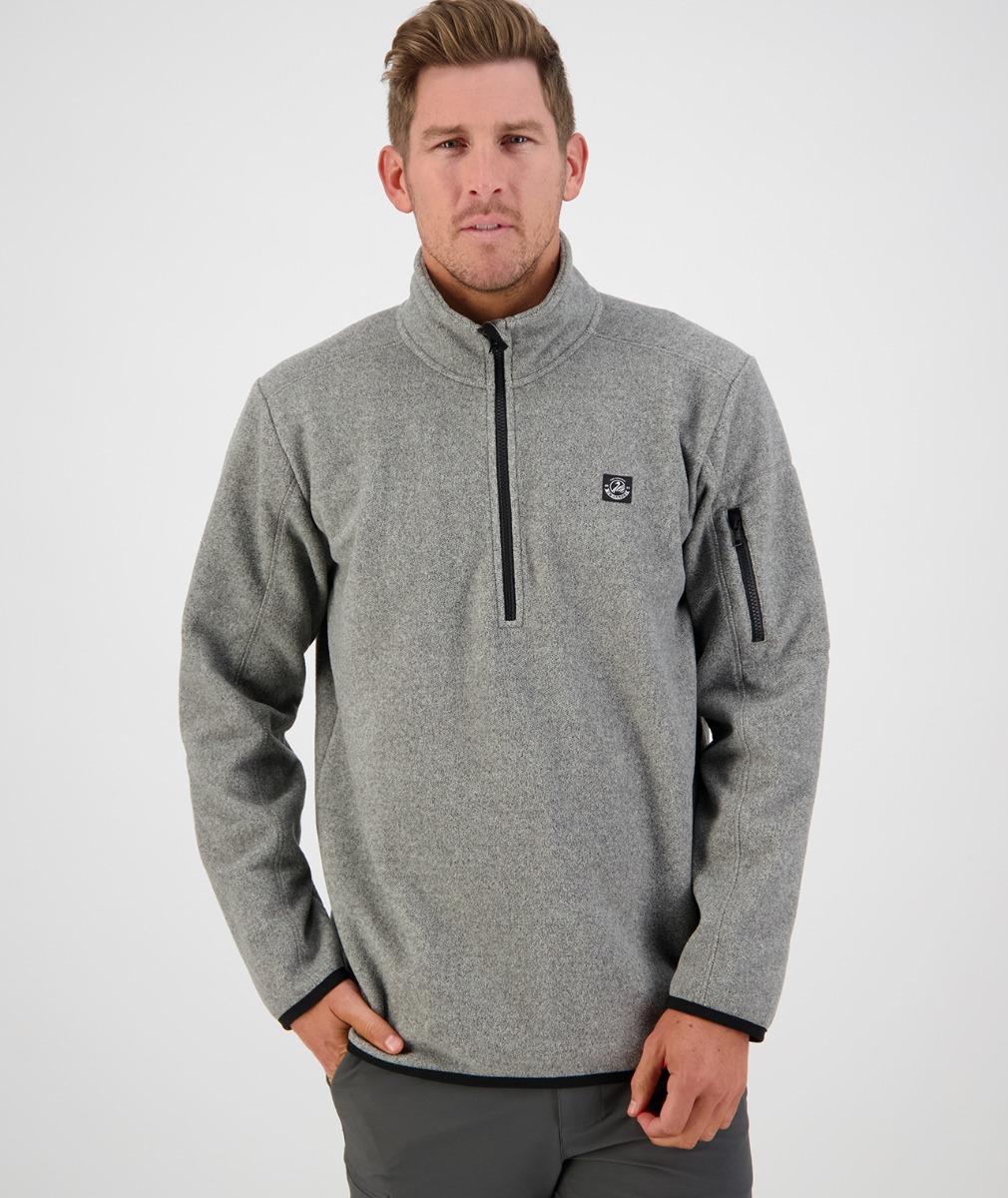 Swanndri Men's Ferrymead Zip Neck Fleece Jumper in Grey