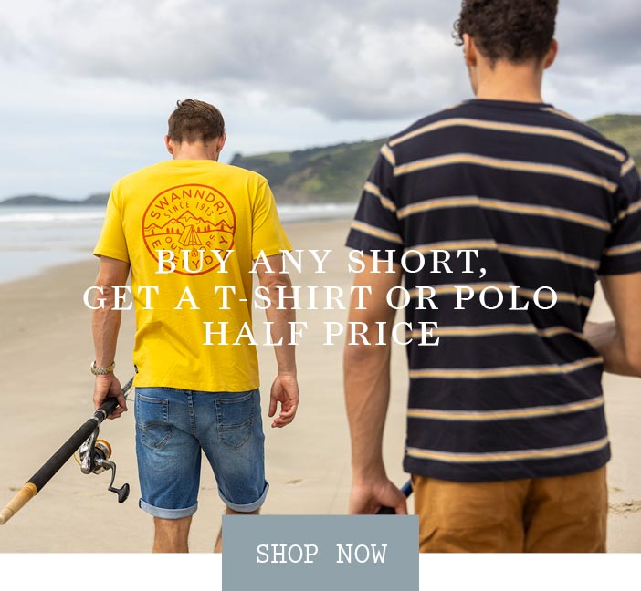 Buy Any Short & Get a T-Shirt or Polo 1/2 Price